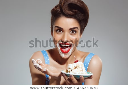 Girls eating birthday cake Stock photo © IS2