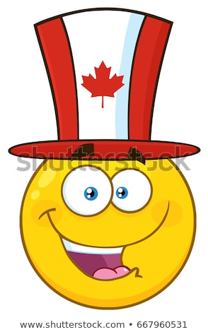 happy patriotic yellow cartoon emoji face character wearing a canadian maple leaf hat stock photo © hittoon