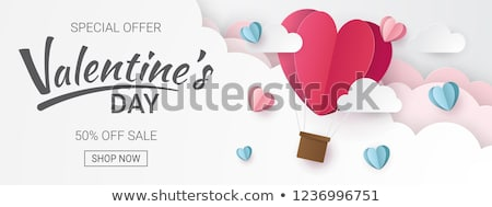valentines day sale design with red heart balloon on pink background vector special offer illustrat stock photo © articular