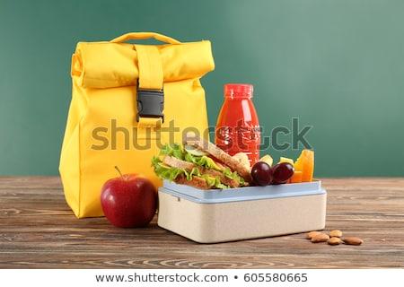 ストックフォト: 学校 · 木製 · ランチ · ボックス · サンドイッチ · 野菜