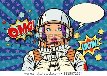 Astronauta mulher surpreendido retro Foto stock © studiostoks