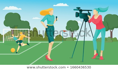 television camerawoman flat cartoon character stock photo © voysla