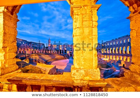 Aréna római hajnal kilátás régió Horvátország Stock fotó © xbrchx