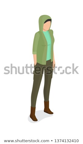 Woman in Green Jacket with Hood, Verdant Trousers Stock photo © robuart