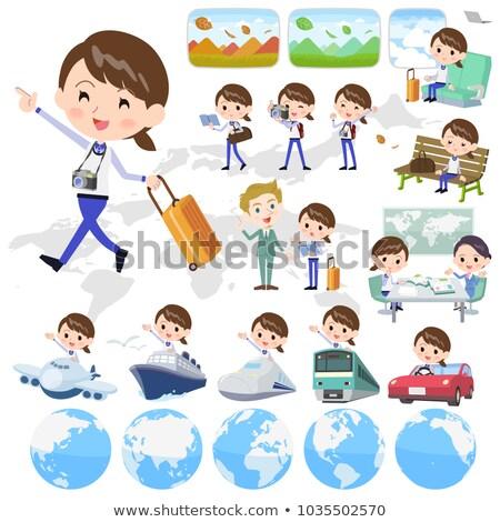 Store personeel Blauw uniform vrouwen landschap Stockfoto © toyotoyo