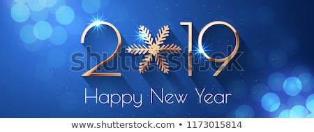 Happy new year texte nombre flocon de neige bleu calendrier Photo stock © orensila