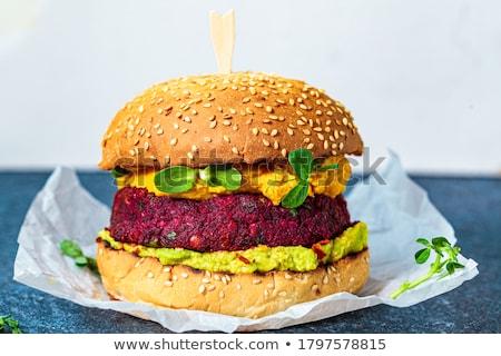 Vegan hamburger cékla fa háttér szendvics Stock fotó © M-studio