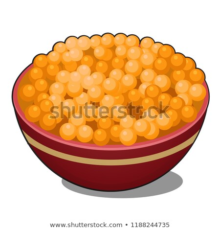 Clay bowl with red caviar isolated on white background. Vector cartoon close-up illustration. Stock photo © Lady-Luck