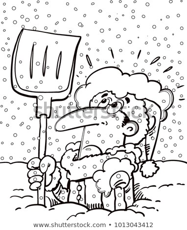 Cartoon man buried in snow and holding a shovel. stock photo © bennerdesign