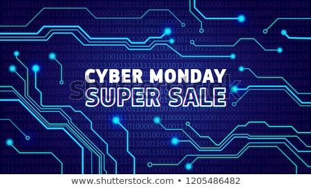 Cyber monday sale poster, bunner, invitation with electrical pulses Stock photo © MarySan