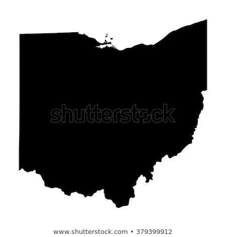 Vector kaart Ohio geïsoleerd zwart wit eps Stockfoto © kyryloff