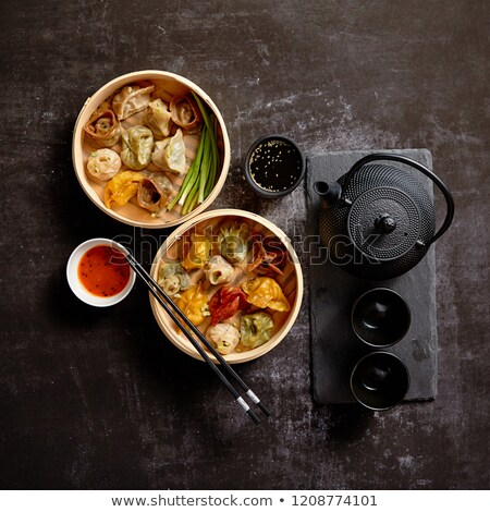 comida · china · mixto · bambú · buque · de · vapor · servido - foto stock © dash