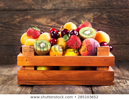 Stockfoto: Fresh Red Ripe Apples Fruits In The Wooden Box