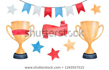 Gold trophy cup, award with red ribbons decoration Stock photo © robuart