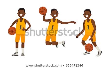Rajz mosolyog kosárlabdázó fiú kosárlabda labda Stock fotó © cthoman