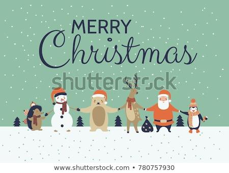 christmas · cute · vakantie · ijsbeer · cartoon · kaart - stockfoto © balasoiu
