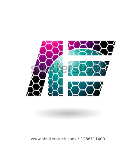 Green and Magenta Letter E with Honeycomb Pattern Vector Illustr Stock photo © cidepix