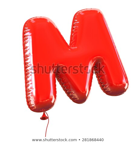 red glossy font letter m 3d stock photo © djmilic