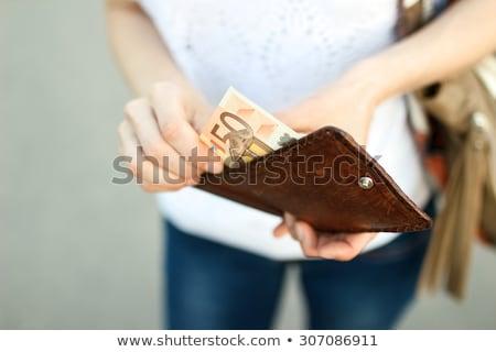 El dışarı euro cüzdan banka para Stok fotoğraf © ra2studio