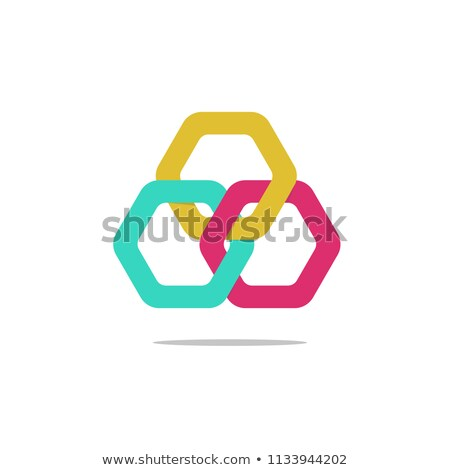 幾何学的な 赤 緑 六角形 アイコン ベクトル ストックフォト © blaskorizov