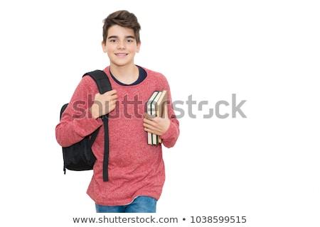 Cute школьник книгах стены Сток-фото © boggy