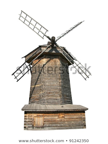 Red windmill on white background Stock photo © colematt