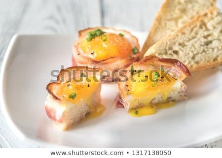 Bacon ovo bolinho seção transversal branco Foto stock © Alex9500