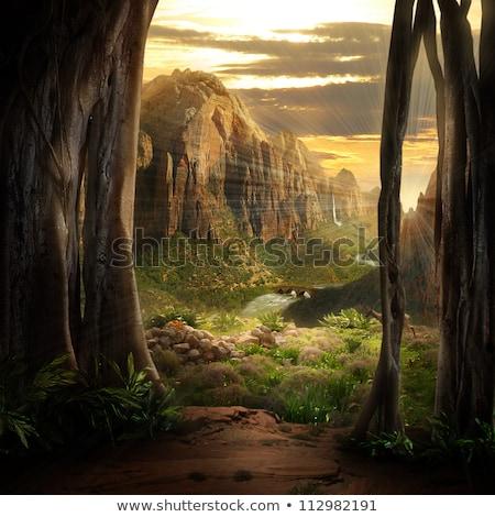 mountain landscape looking from bridge view stock photo © colematt