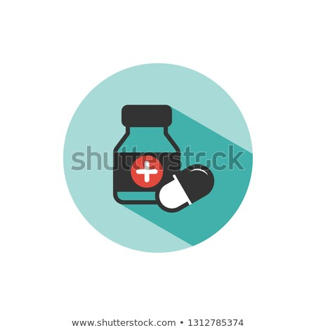 Medicine bottle and pills color icon with shade on a green circle Stock photo © Imaagio