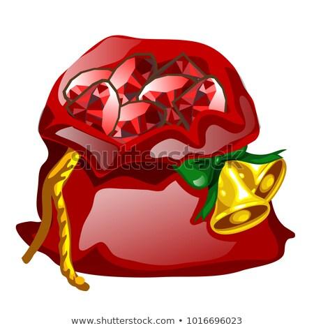 Piros bársony zsák kötél arany karácsony Stock fotó © Lady-Luck