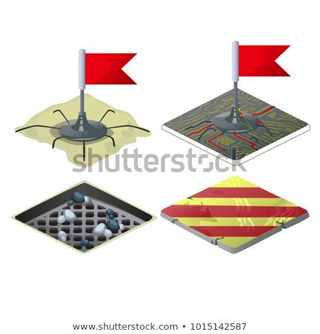 Set of checkpoints with red flags isolated on white background. Vector cartoon close-up illustration Stock photo © Lady-Luck