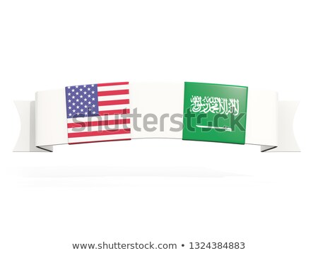 Banner with two square flags of United States and saudi arabia Stock photo © MikhailMishchenko