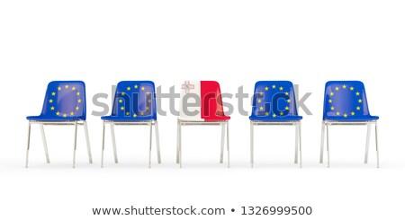 Rząd krzesła banderą eu Malta odizolowany Zdjęcia stock © MikhailMishchenko