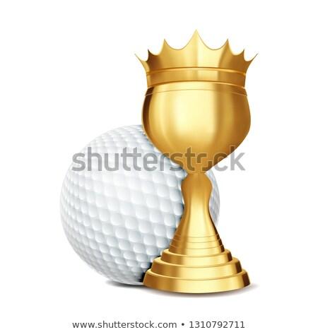 Foto stock: Golf · adjudicación · vector · pelota · de · golf · dorado · taza
