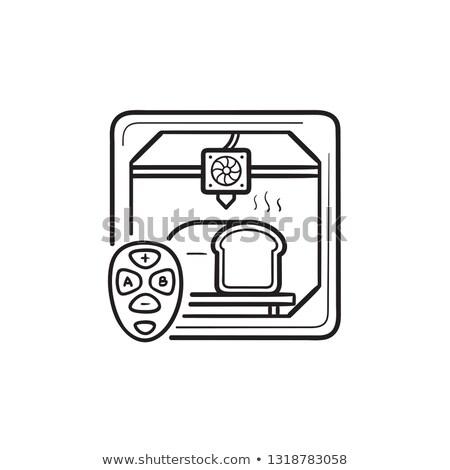 3d printer making bread hand drawn outline doodle icon stock photo © rastudio
