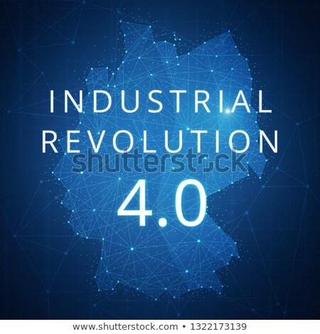 Fourth industrial revolution on blockchain polygon Germany map. Stock photo © RAStudio