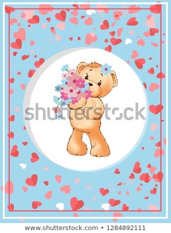 Teddy Holding Flowers, Plush Toy in Circle Vector Stock photo © robuart