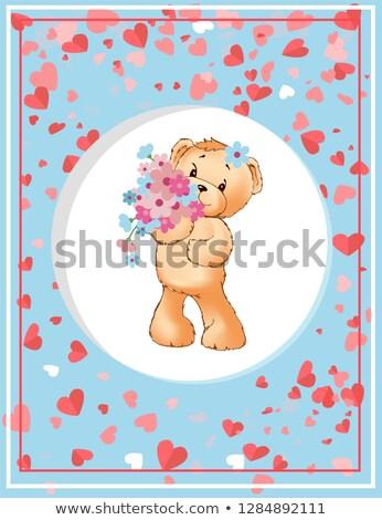 かわいい · クマ · 花 · 花 · 子供 · 草 - ストックフォト © robuart