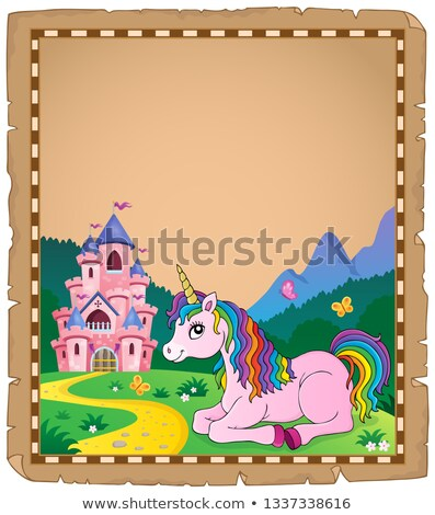 Parchment with lying unicorn theme 3 Stock photo © clairev