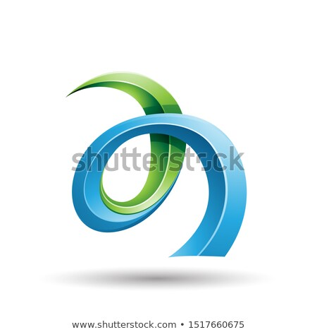 Blue and Green Curled Ivy Like Letter A Icon Stock photo © cidepix