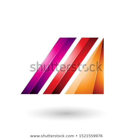 Red and Magenta Letter M of Glossy Diagonal Bars Stock photo © cidepix