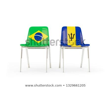 dwa · krzesła · flagi · odizolowany · biały · 3d · ilustracji - zdjęcia stock © mikhailmishchenko
