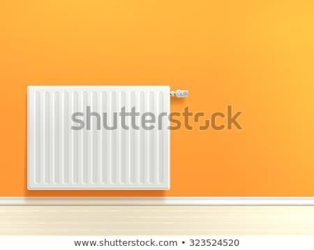 Bianco realistico riscaldamento radiatore verde muro Foto d'archivio © netkov1