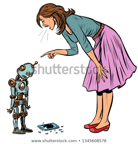 robot broke the phone. Woman scolds guilty Stock photo © studiostoks