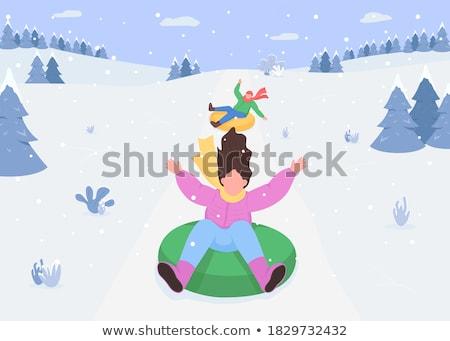 Neve tubulação inverno atividades família pessoas Foto stock © robuart