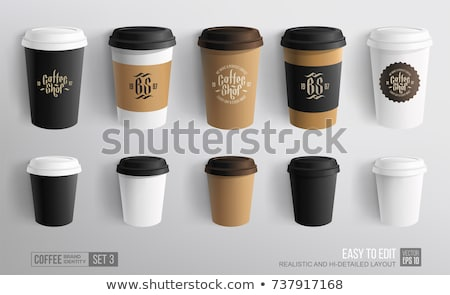Stockfoto: Set Of Colored Cardboard Coffee Cups Isolated On White Background