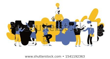 Vector dream team concept creative business illustration with working people.  Foto d'archivio © Giraffarte