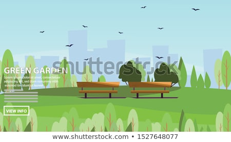 park landscape web banner with green lawn vector stock photo © robuart