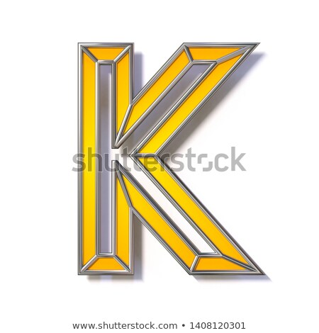 Orange metal wire font Letter K 3D Stock photo © djmilic