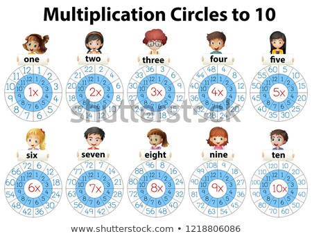 Math Vermehrung Kreise zehn Illustration Mädchen Stock foto © colematt